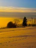 Tramonto nell'orario invernale fotografia stock
