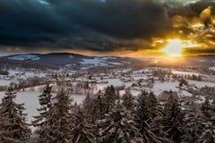 Tramonto nella foresta bavarese Fotografia Stock
