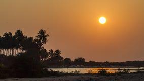 Tramonto nella laguna di Kalpitiya, Sri Lanka Fotografia Stock