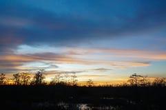 tramonto nella palude della Luisiana Fotografie Stock Libere da Diritti