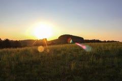 tramonto nella sera del sud di allgau della Germania Fotografia Stock