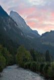 Tramonto nelle alpi Fotografia Stock