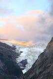 Tramonto nelle alpi: il ghiacciaio superiore di Grindelwald Fotografie Stock