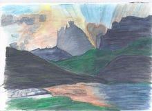 Tramonto nelle montagne illustrazione vettoriale