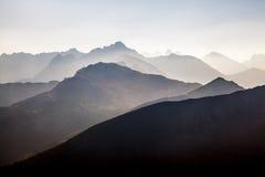 Tramonto nelle montagne di Tatra Fotografia Stock