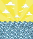 Tramonto in oceano illustrazione di stock