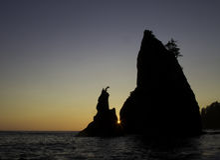 Tramonto olimpico della spiaggia del parco nazionale Fotografie Stock Libere da Diritti