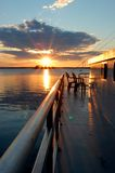 Tramonto Ontario, Canada della casa galleggiante Fotografia Stock