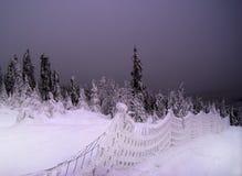 Tramonto, paesaggio dello Snowy Fotografie Stock Libere da Diritti