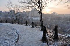 Tramonto, paesaggio urbano di inverno Immagine Stock Libera da Diritti