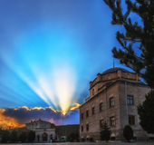 Tramonto Panaroma in Kars fotografia stock libera da diritti