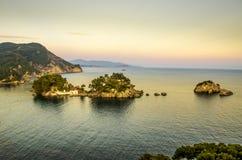 Tramonto - Parga in Grecia, Prevesa, Epiro, Grecia - Mar Ionio fotografie stock