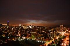 Tramonto in peperoncino rosso di Santiago immagini stock