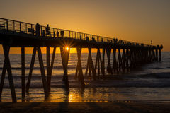 Tramonto, pilastro della spiaggia di Hermosa Fotografia Stock