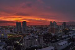 Tramonto pittoresco sopra Bangkok Fotografia Stock Libera da Diritti