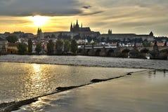 Tramonto a Praga Fotografie Stock