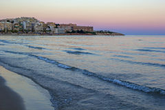 Tramonto radiante della spiaggia del mare Immagine Stock Libera da Diritti