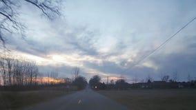 Tramonto recente di inverno nel Michigan rurale 2 Immagini Stock