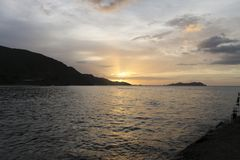 Tramonto in Rio Caribe fotografia stock libera da diritti