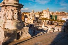 Tramonto a Roma veduta dall'altare della patria Fotografia Stock
