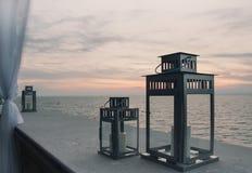 Tramonto romantico, vista dal terrazzo sul mare Fotografia Stock
