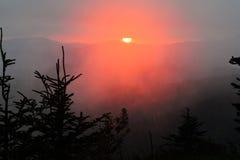 Tramonto rosso dalla cupola di Clingman in Great Smoky Mountains Fotografia Stock Libera da Diritti