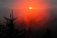 Tramonto rosso dalla cupola di Clingman in Great Smoky Mountains Immagini Stock