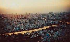 Tramonto in Saigon, Ho Chi Minh City, Vietnam con il cityview fotografia stock
