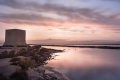 Tramonto in Santa Pola, Alicante, Spagna fotografia stock