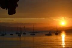 Tramonto a Santo Antonio de Lisboa - Santa Catarina - il Brasile fotografie stock libere da diritti