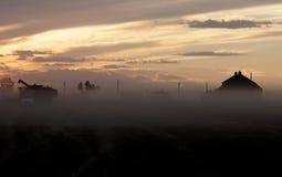 Tramonto Saskatchewan del raccolto Fotografie Stock