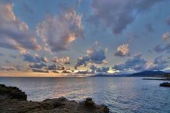 Tramonto scenico nel golfo di Tigullio Cavi di Lavagna La Liguria L'Italia Immagine Stock