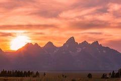 Tramonto scenico nel Tetons fotografia stock