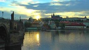 Tramonto scenico a Praga video d archivio
