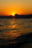 Tramonto, sera, paesaggio, crepuscolo, paesaggio, Crimea, il Mar Nero, il mare Fotografia Stock