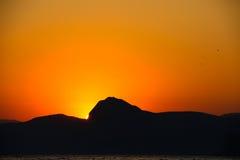 Tramonto, sera, paesaggio, crepuscolo, paesaggio, Crimea, il Mar Nero, il mare Fotografie Stock
