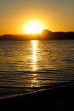 Tramonto, sera, paesaggio, crepuscolo, paesaggio, Crimea, il Mar Nero, il mare Immagini Stock