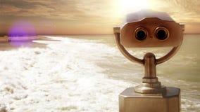 Tramonto sereno sul litorale con il telescopio pay-per-view turistico archivi video
