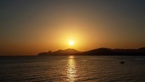 Tramonto a Ses Salines es Vedra, Ibiza immagine stock libera da diritti