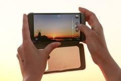 Tramonto Sicilia Italia delle foto del dettaglio di Smartphone immagine stock