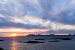 Tramonto, Skye, punto di Sleat, nubi di cirro Immagini Stock Libere da Diritti
