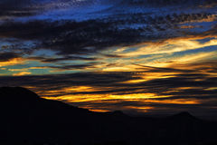 Tramonto solnedgång - magisk natur Arkivfoton