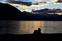 Tramonto solo a Wanaka Fotografie Stock