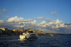 Tramonto sopra Constantinopole fotografie stock libere da diritti