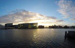 Tramonto sopra Copenhaghen, Danimarca fotografia stock libera da diritti