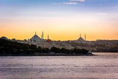 Tramonto sopra Costantinopoli, Turchia Fotografie Stock Libere da Diritti