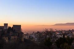 Tramonto sopra Granada Fotografia Stock Libera da Diritti