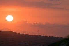 Tramonto sopra Haiti Immagini Stock