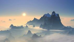 Tramonto sopra i picchi di montagna video d archivio