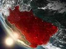 Tramonto sopra il Brasile da spazio Immagini Stock Libere da Diritti